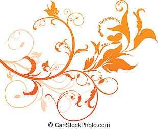 abstract orange floral