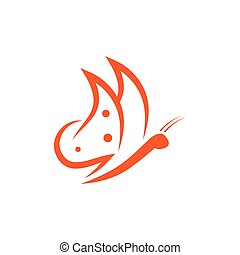 Abstract orange flying butterfly logo