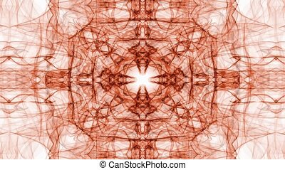 Abstract orange fractal patterns on white background. Vintage ornament in tunnel motion, beautiful decoration.