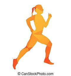 Abstract orange geometrical vector running woman