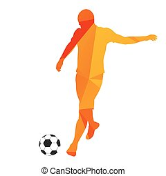 Abstract orange geometrical vector soccer player