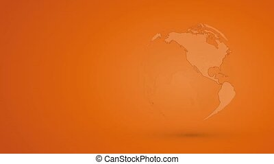 abstract orange globe planet earth with outline