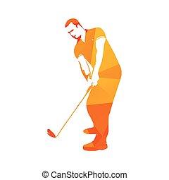 Abstract orange golf player, vector golfer illustration