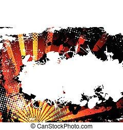 abstract, orange., grunge, achtergrond, halftone