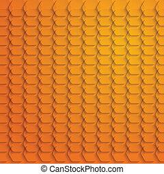 Abstract orange hexagon background - vector illustration