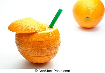 Abstract orange juice with straw