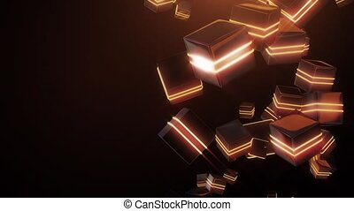 Abstract orange neon squares HD