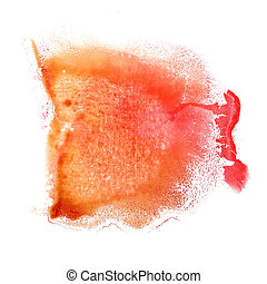abstract Orange, red drawing stroke ink watercolor brush...