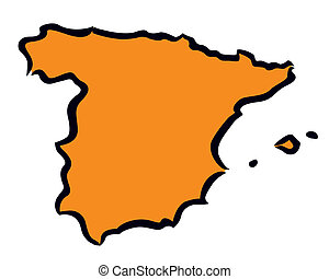 Abstract orange Spain map
