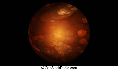 Abstract Orange Sphere On Black Background