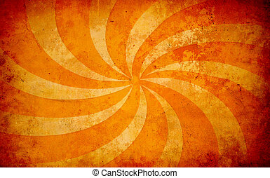 orange vintage grunge background with sun rays - abstract ...