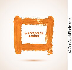 Abstract orange watercolor hand-drawn banner