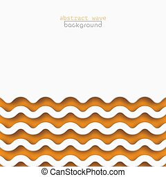 Abstract orange waves background for design. Vector marine wallpaper concept, wave pattern texture. Square banner with copy space for text, paper cut style