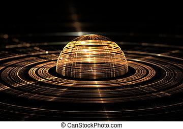Abstract orb. Fractal digital artwork, 3d illustration