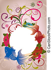 Abstract oriental floral card