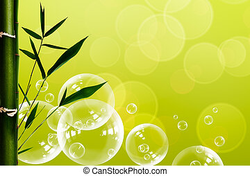 Abstract oriental spa backgrounds with bamboo and water bubbles