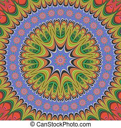 Abstract oriental star mandala fractal design