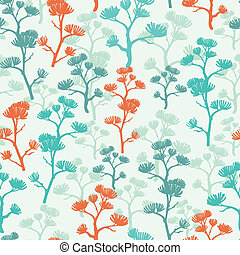 Abstract oriental trees seamless pattern background