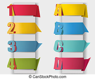 Abstract origami retro banners with litters and numbers. Vector