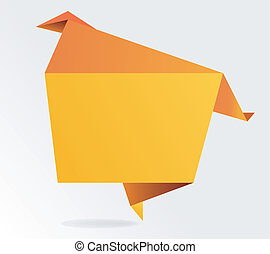 Abstract origami speech bubble.