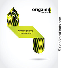 abstract origami speech bubble with knitted design