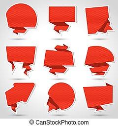 abstract, origami, tekstballonetje, vector, achtergrond.,...
