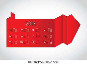 abstract origami with calendar 2013