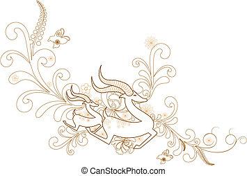 deer - abstract ornament deer pattern design.