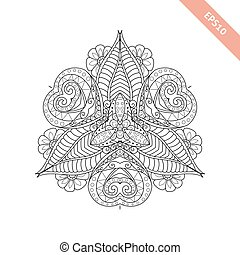Abstract  ornament. Mandala. Background. Design for adult coloring book page.