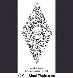 Abstract Ornament of Bones Black