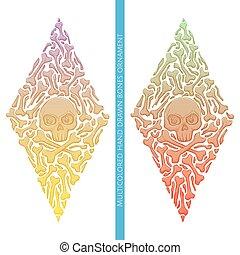Abstract Ornament of Bones Multicolored