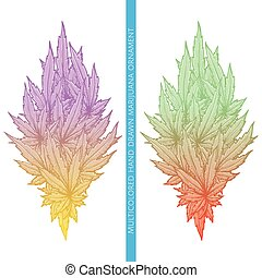 Abstract Ornament of Cannabis Multicolored