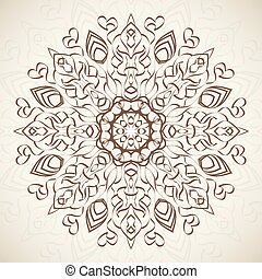 Abstract ornamental round floral lace pattern on beige background