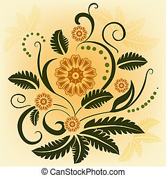 Abstract ornamental vector flower design element.