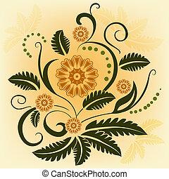 Abstract ornamental vector flower design element.