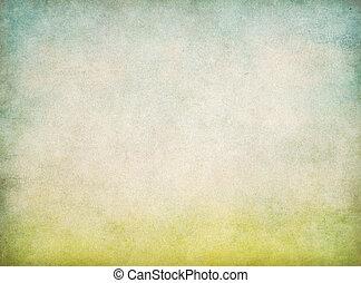 abstract, ouderwetse , papier, achtergrond, met, groen gras, en blauw, hemel