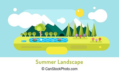 Abstract outdoor summer landscape. Trees and nature signs,...