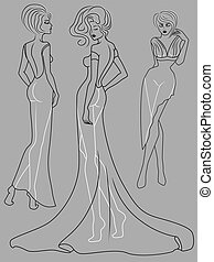 Abstract outline of three graceful ladies in fashionable clothes isolated on the muted blue gray background