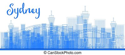 Abstract Outline Sydney City skyline with skyscrapers.