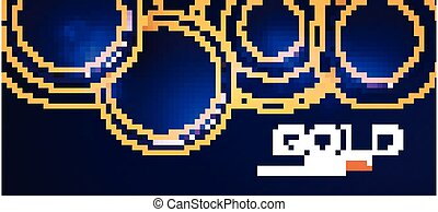 Abstract Overlapping Circles Background with Gold Glitter...