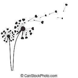 abstract, paardenbloem, achtergrond, vector, illustratie