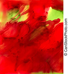 Abstract paint big red smudge with some green