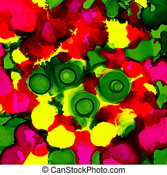 Abstract paint bright pink yellow green spots