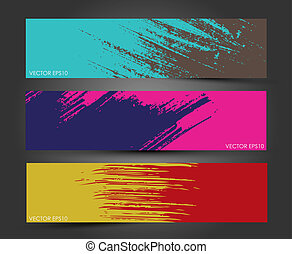 Abstract Paint brush banner - Set of three headers. Abstract...