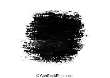 Abstract paint brush stroke. Black brush stroke over textured white paper background.