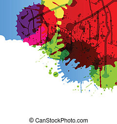 Abstract paint color splashes detailed background...