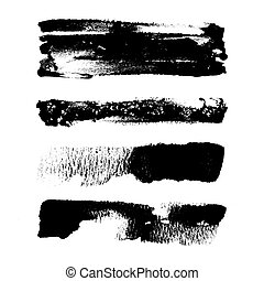 Abstract paint strokes made with black paint and brush