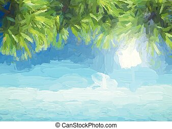 abstract painted background of palm trees leaves against ocean 1605