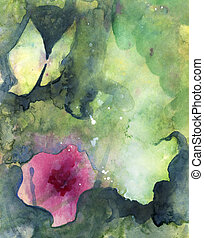 Abstract painted original watercolor background texture with butterfly, flower and atmospheric space.