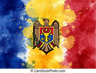 Abstract painted flag of Moldova